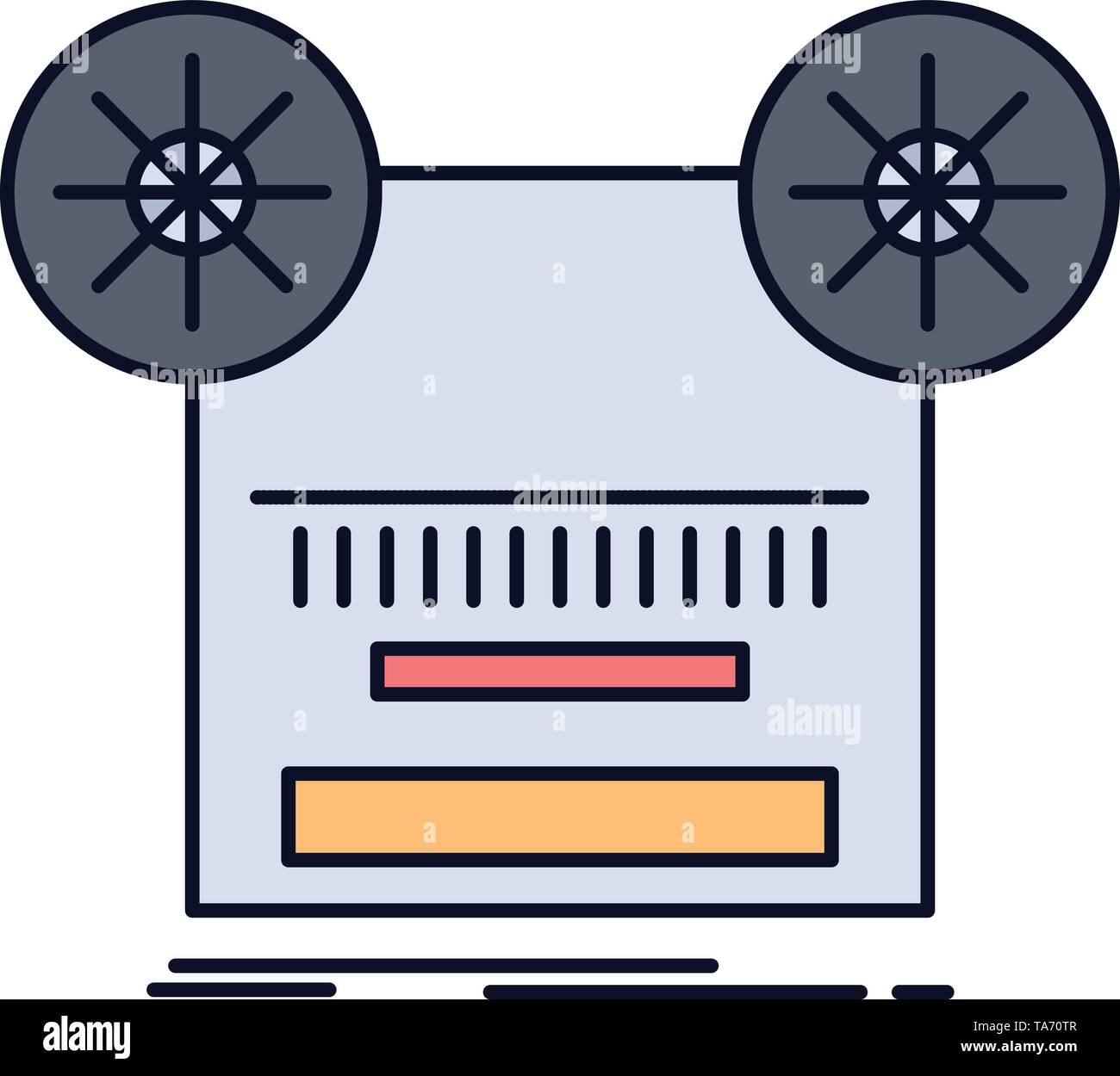 Record, recording, retro, tape, music Flat Color Icon Vector - Stock Image