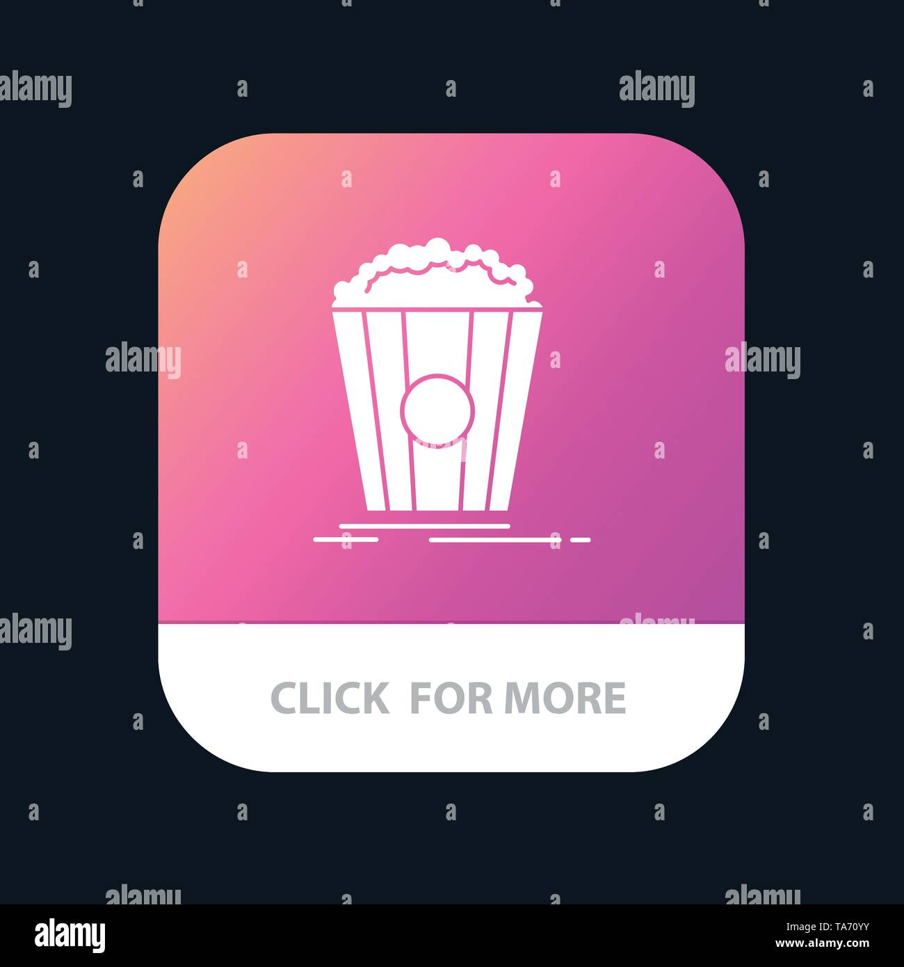 Popcorn, Theater, Movie, Snack Mobile App Button. Android and IOS Glyph Version - Stock Image