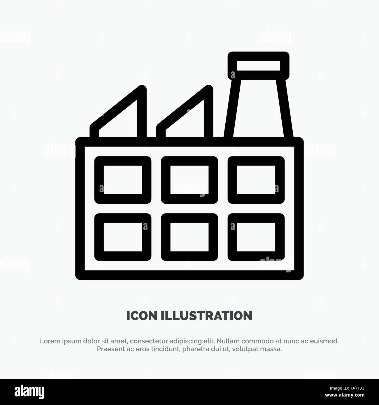 Construction, Factory, Industry Line Icon Vector - Stock Image