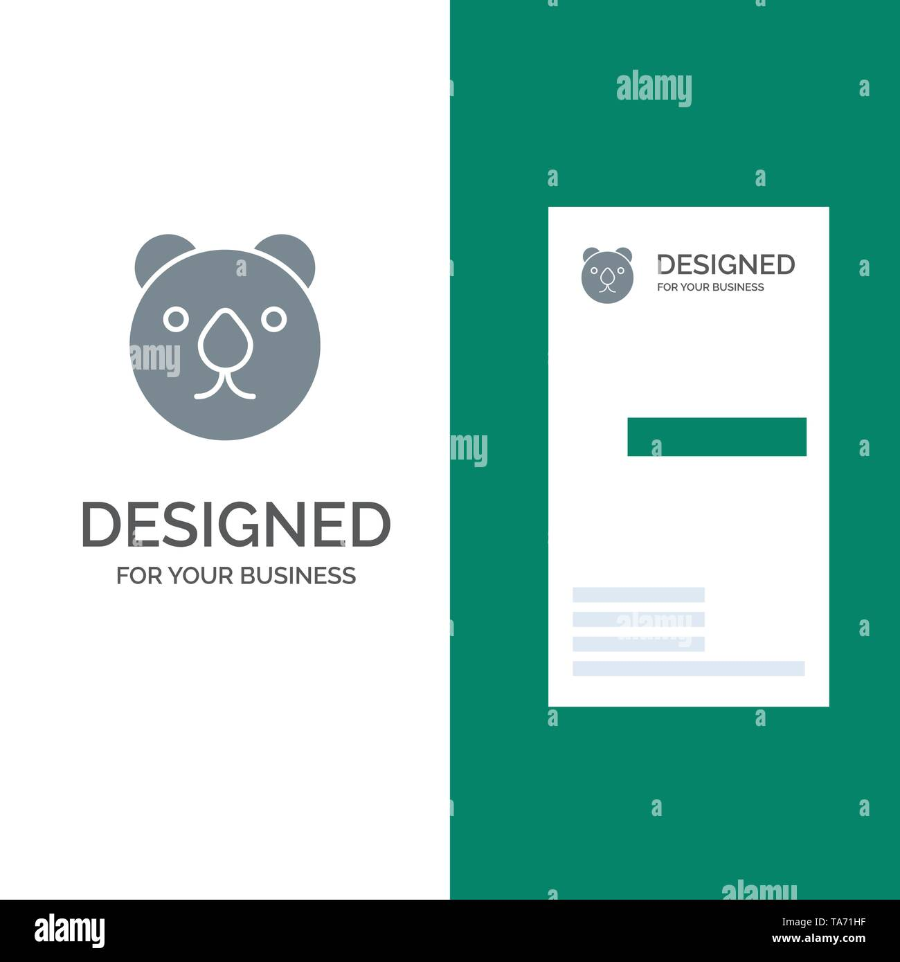 Bear, Head, Predator Grey Logo Design and Business Card Template - Stock Image
