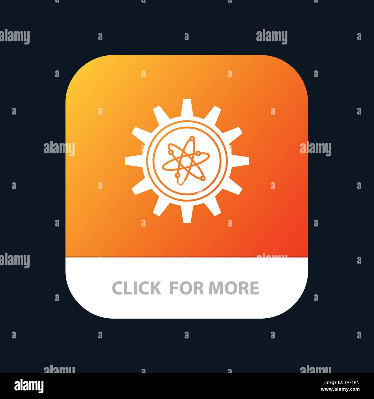 Experiment, Gear, Setting, Lab Mobile App Button. Android and IOS Glyph Version - Stock Image