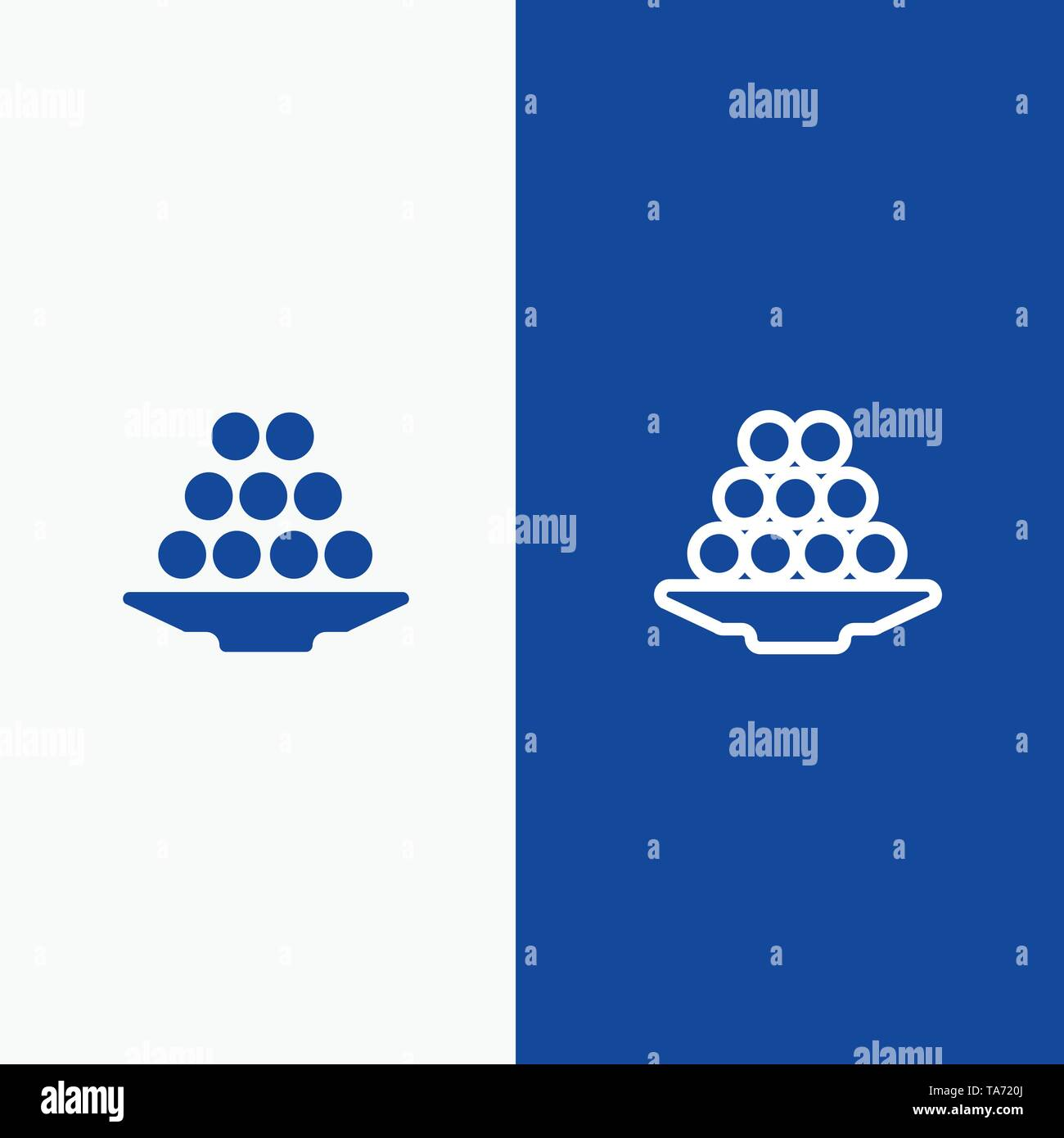 Bowl, Delicacy, Dessert, Indian, Laddu, Sweet, Treat Line and Glyph Solid icon Blue banner Line and Glyph Solid icon Blue banner - Stock Image