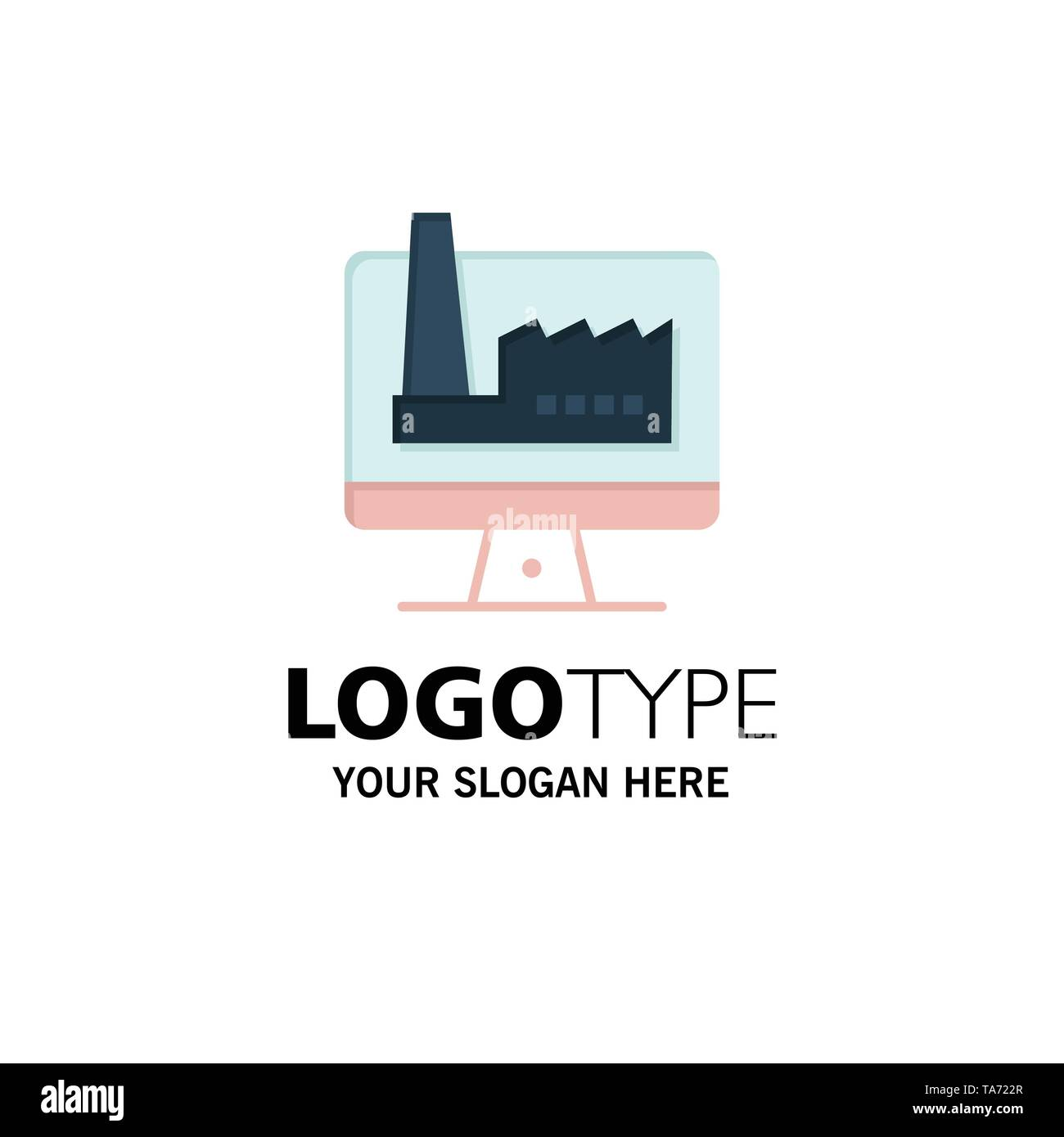Computer, Building, Monitor, Factory Business Logo Template. Flat Color - Stock Image