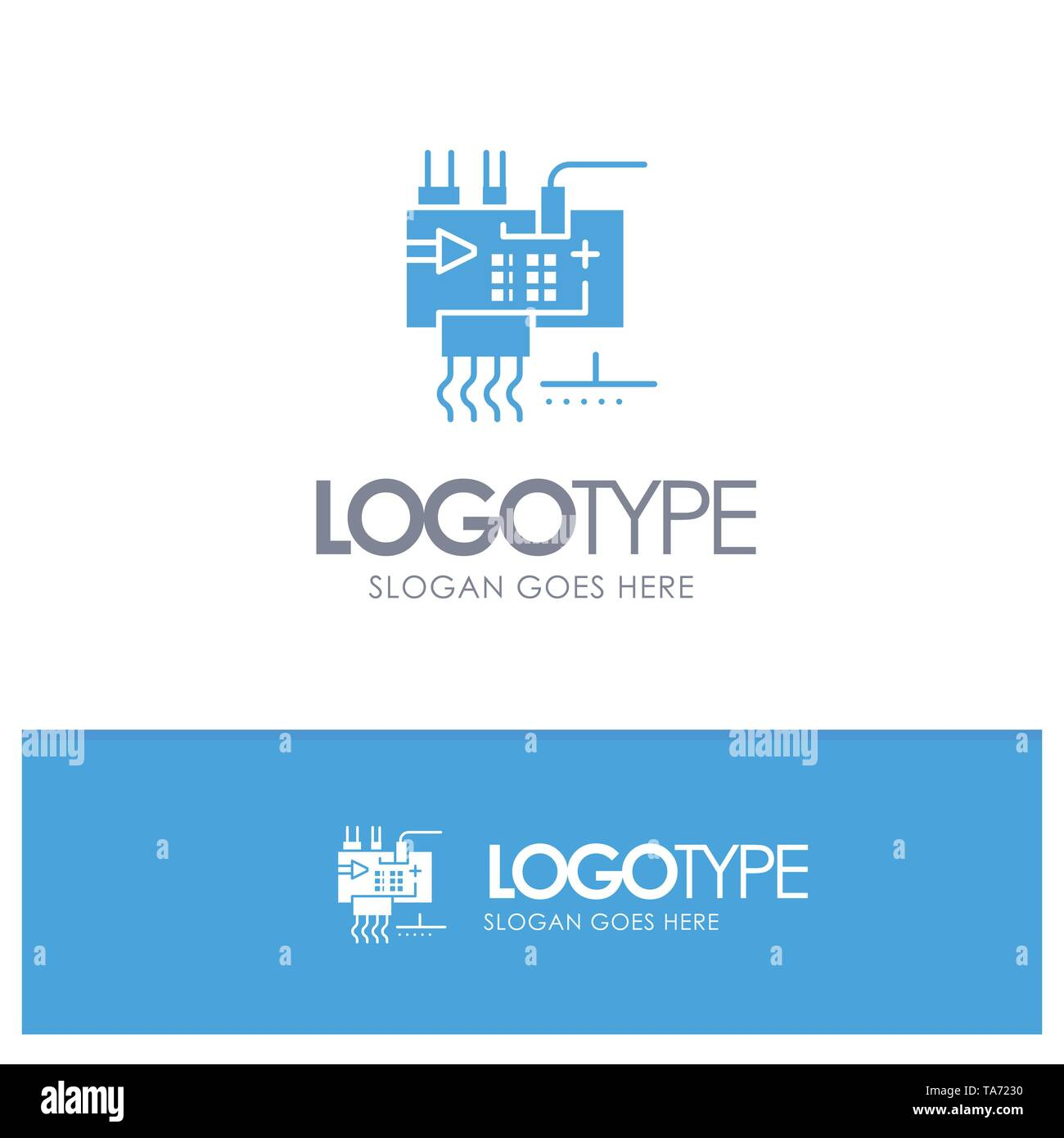 Assemble, Customize, Electronics, Engineering, Parts Blue Solid Logo with place for tagline - Stock Image
