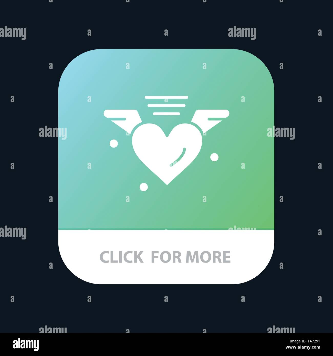 Loving, Love, Heart, Wedding Mobile App Button. Android and IOS Glyph Version - Stock Image