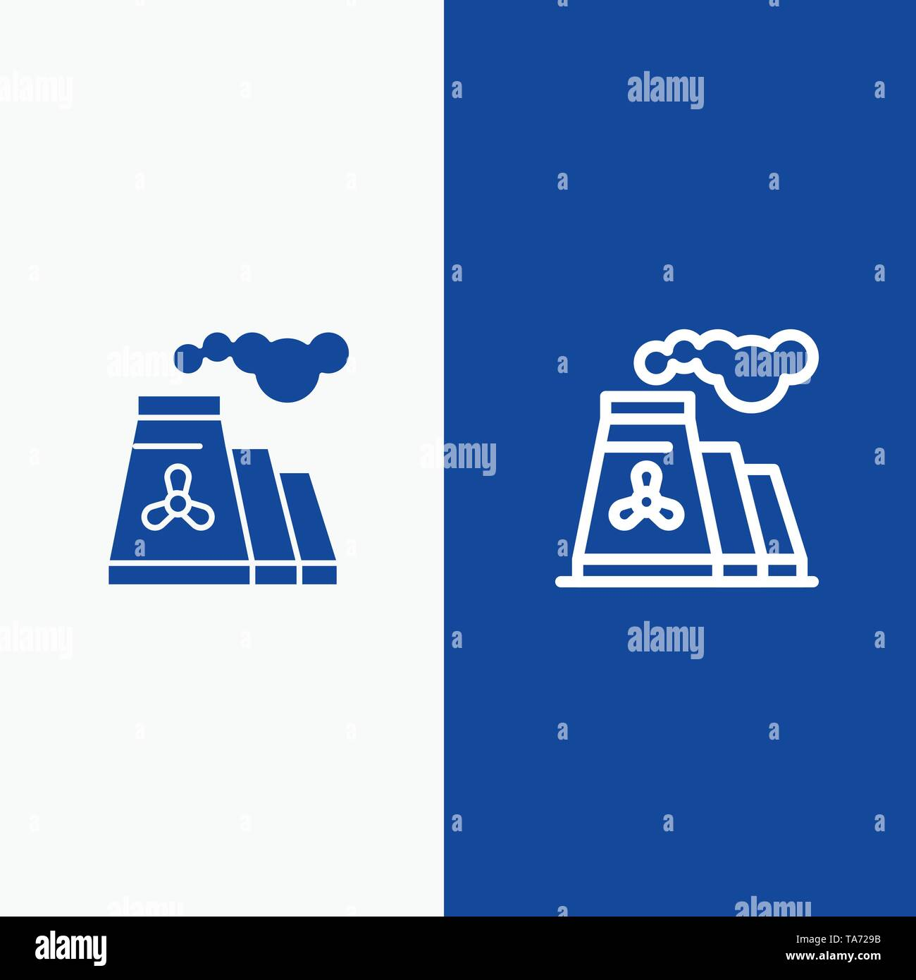 Factory, Pollution, Production, Smoke Line and Glyph Solid icon Blue banner Line and Glyph Solid icon Blue banner - Stock Image