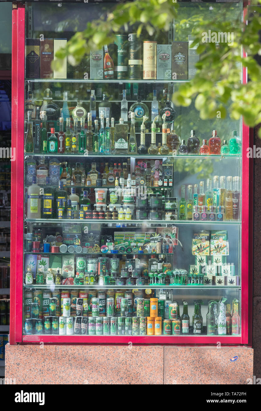 PRAGUE, CZECH REPUBLIC 16-04-2019: Alcoholic beverages glass bottles in outdoor Stock Photo