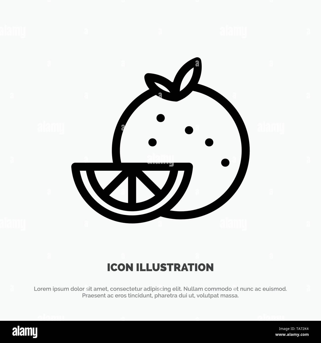 Orange, Food, Fruit, Madrigal Line Icon Vector - Stock Image
