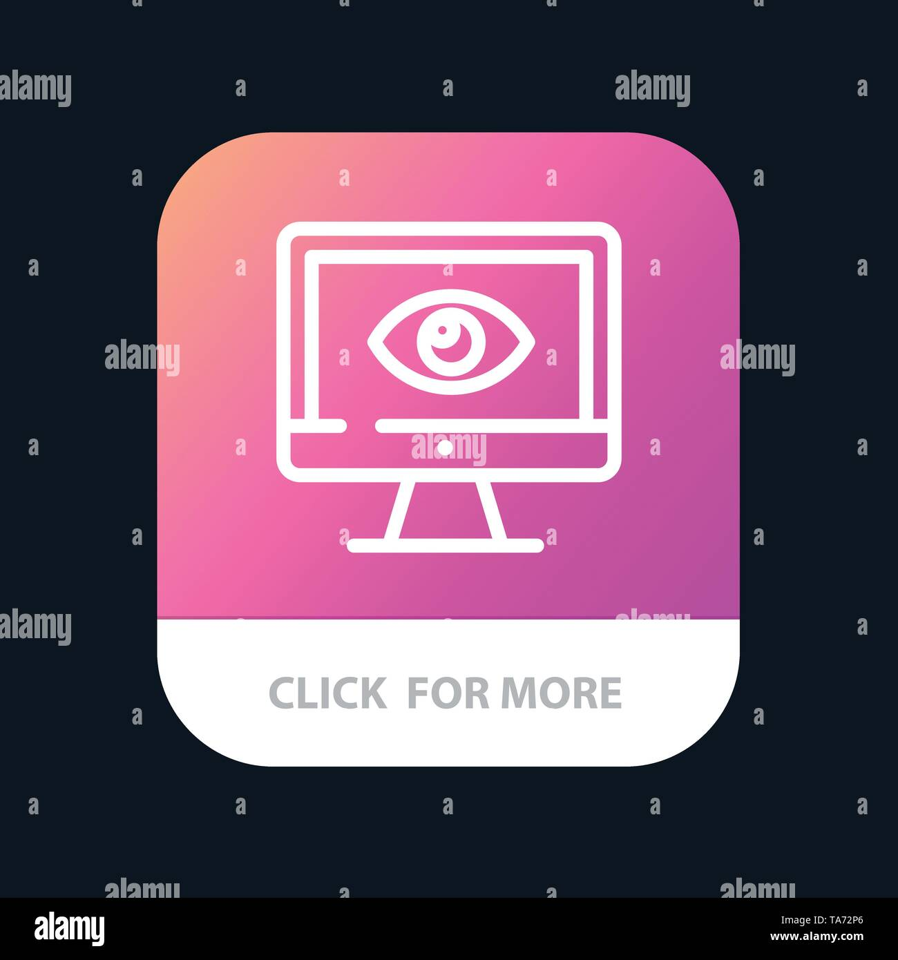 Monitor, Online, Privacy, Surveillance, Video, Watch Mobile App Button. Android and IOS Line Version - Stock Image