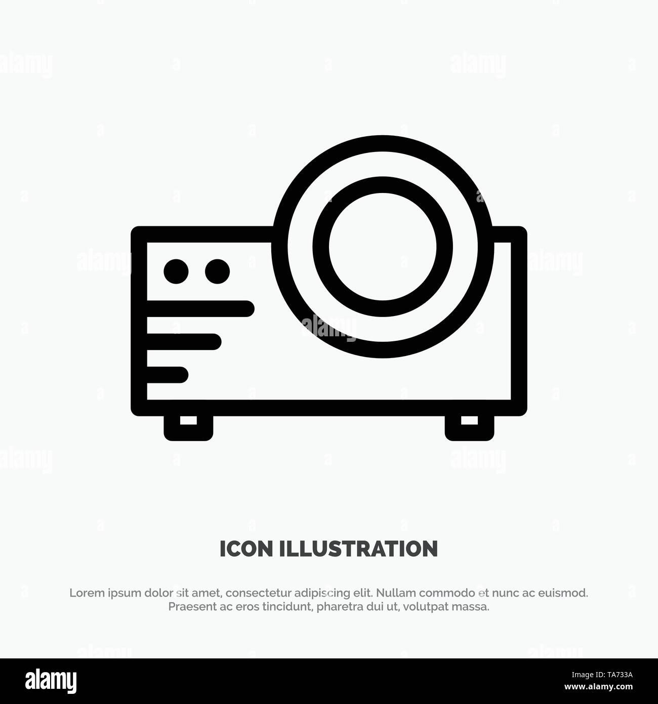 Projector, Film, Movie, Multi Media Line Icon Vector - Stock Image