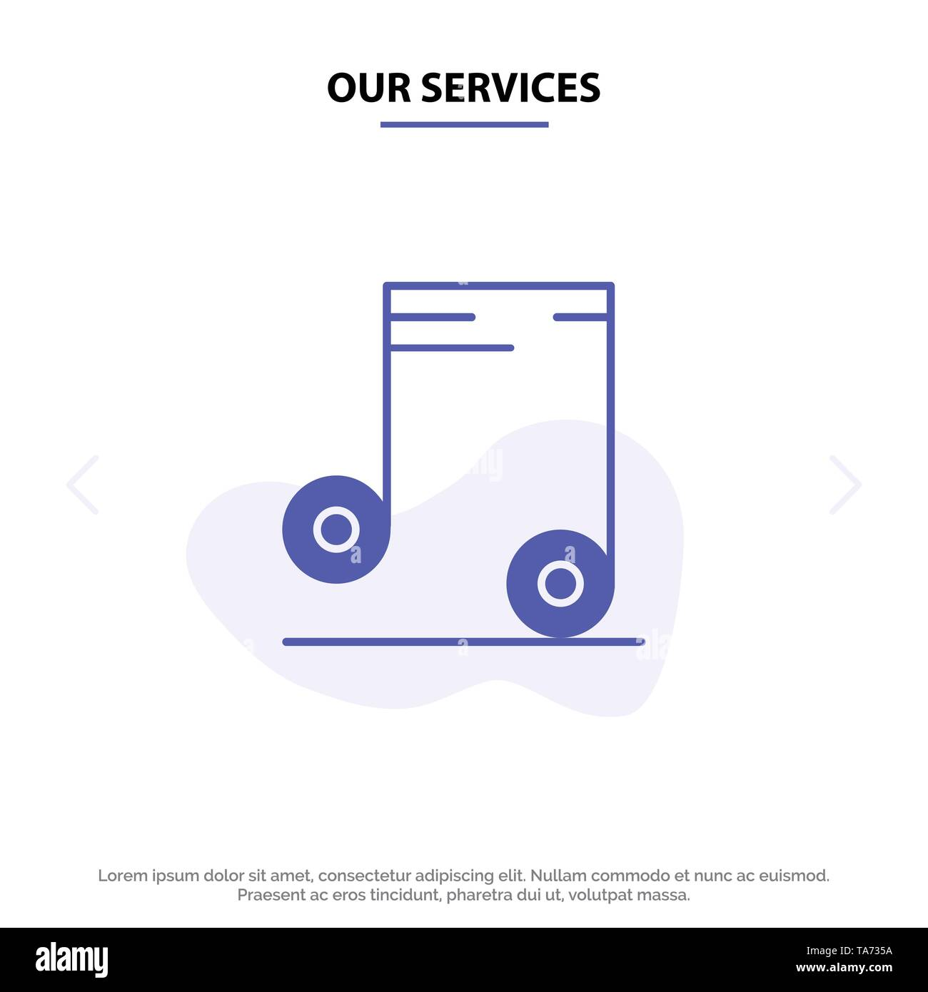 Our Services Music, Audio, School Solid Glyph Icon Web card Template - Stock Image