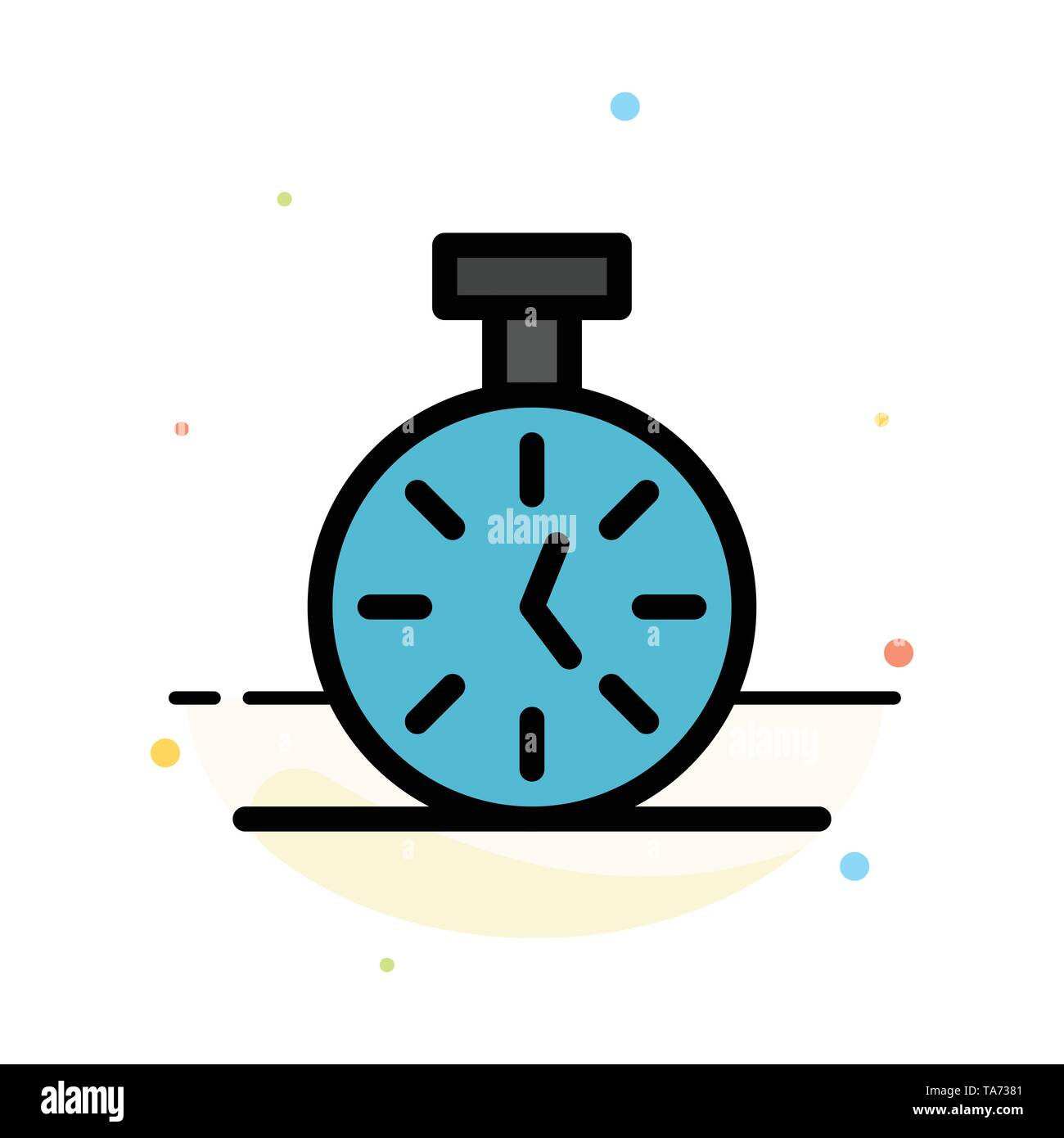 Stopwatch, Time, Timer, Count Abstract Flat Color Icon Template - Stock Image