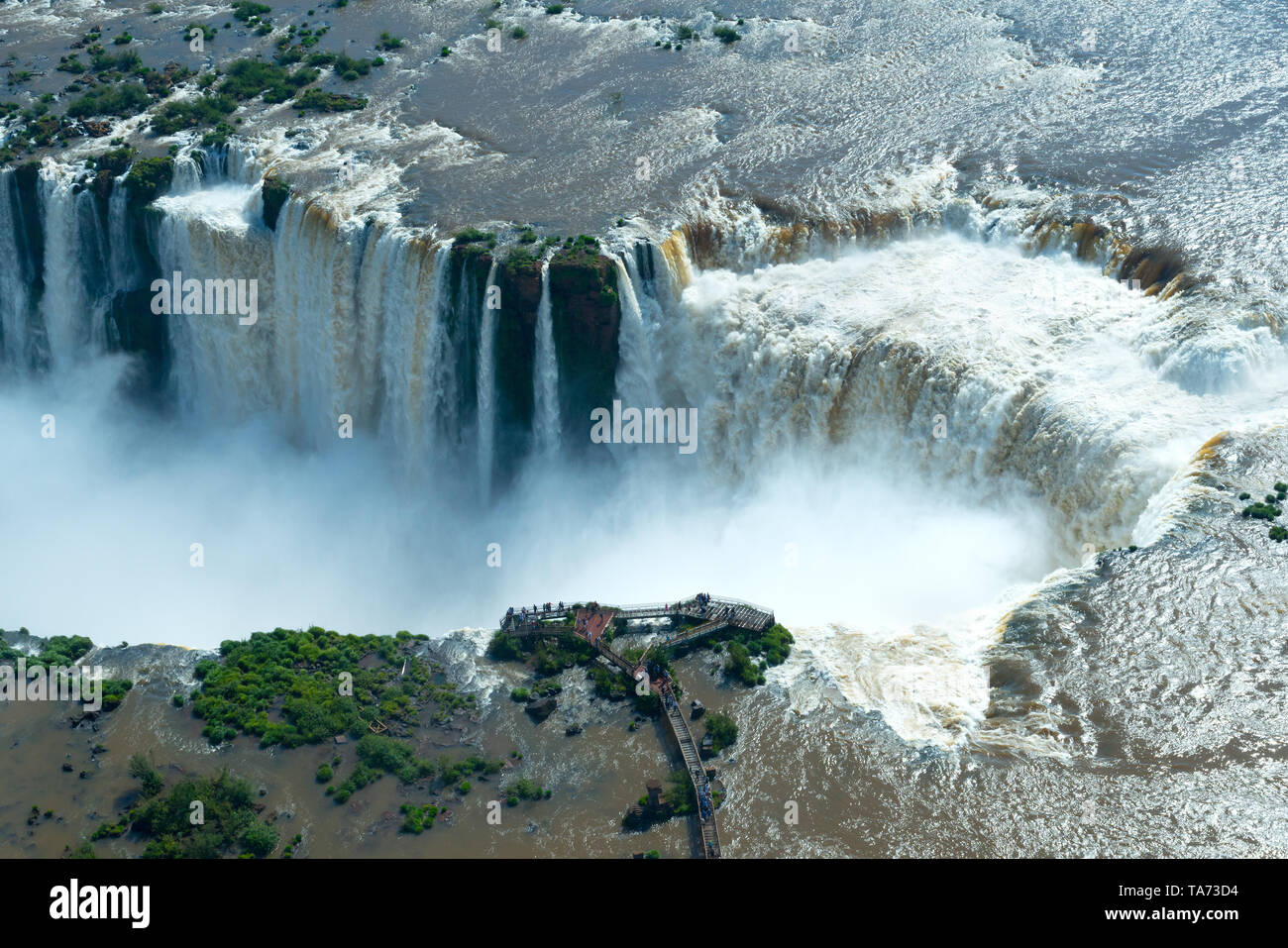Aerial view of Iguazu Falls in the border of Argentina and Brazil Stock Photo
