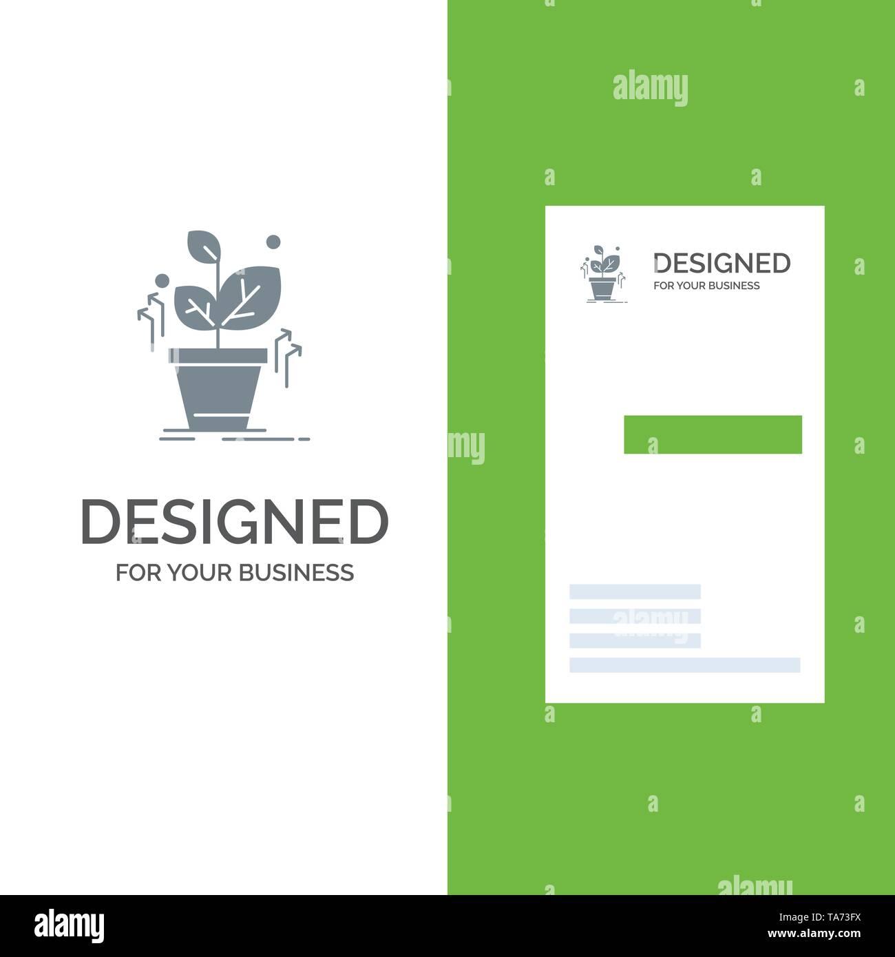Plant, Grow, Grown, Success Grey Logo Design and Business Card Template - Stock Image
