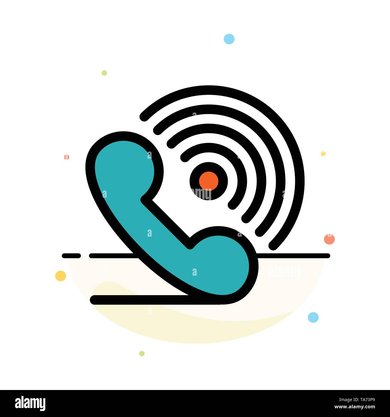 Call, Phone, Receiver, Ring, Signals Abstract Flat Color Icon Template - Stock Image