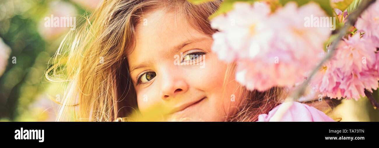 Hot day. Springtime. weather forecast. face and skincare. allergy to flowers. Little girl in sunny spring. Small child. Natural beauty. Childrens day. - Stock Image