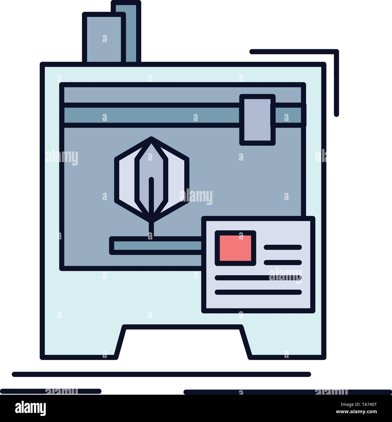 3d, dimensional, machine, printer, printing Flat Color Icon Vector - Stock Image