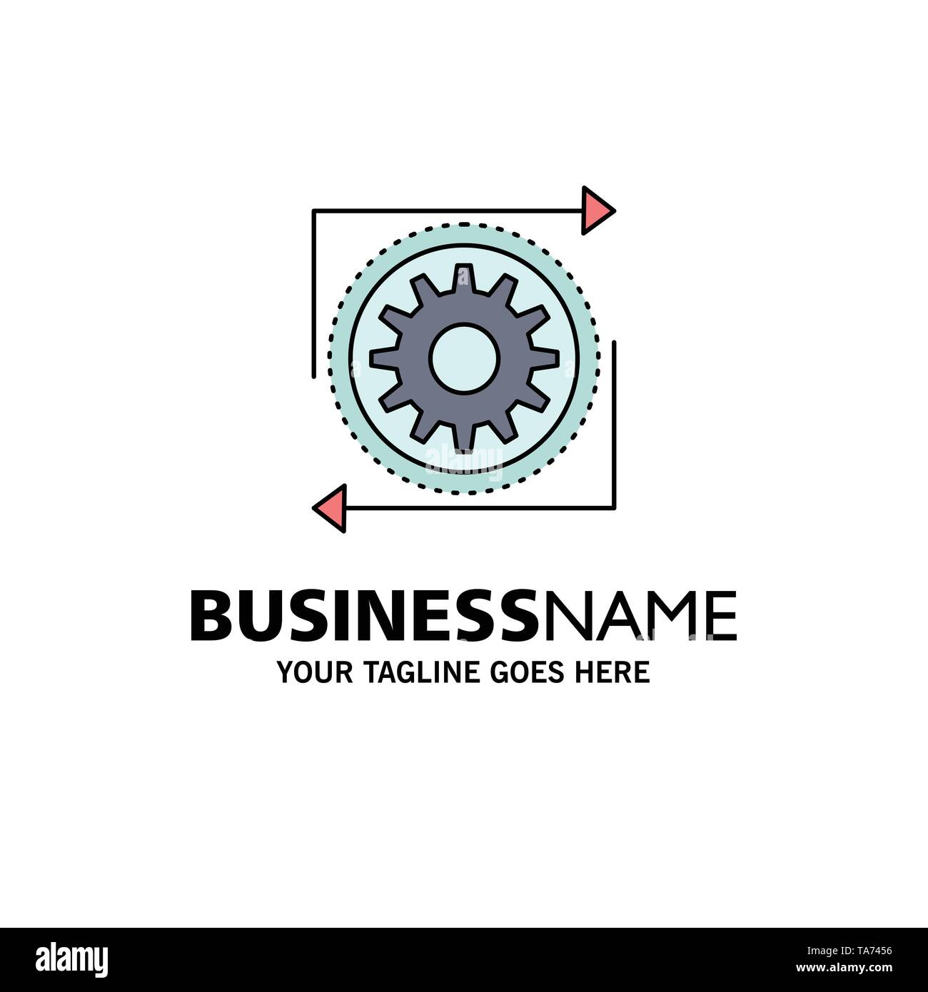 Business, gear, management, operation, process Flat Color Icon Vector - Stock Image