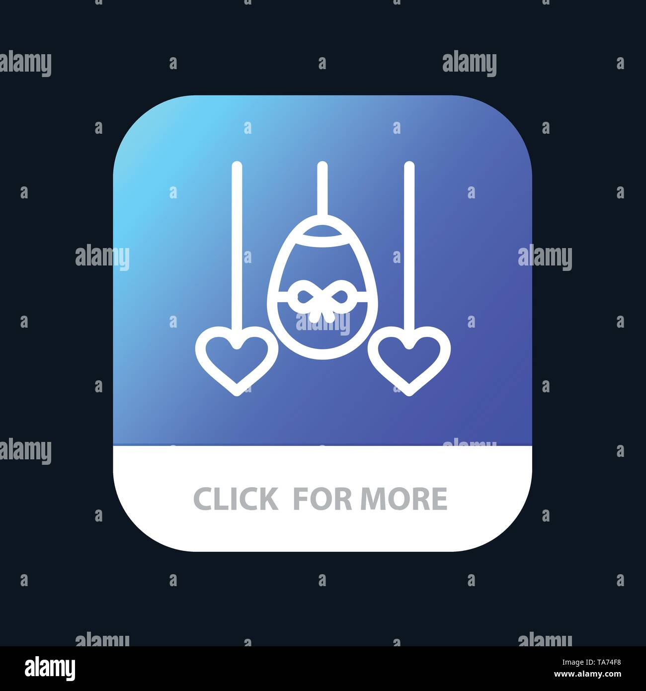 Egg, Heart, Easter, Holiday Mobile App Button. Android and IOS Line Version - Stock Image