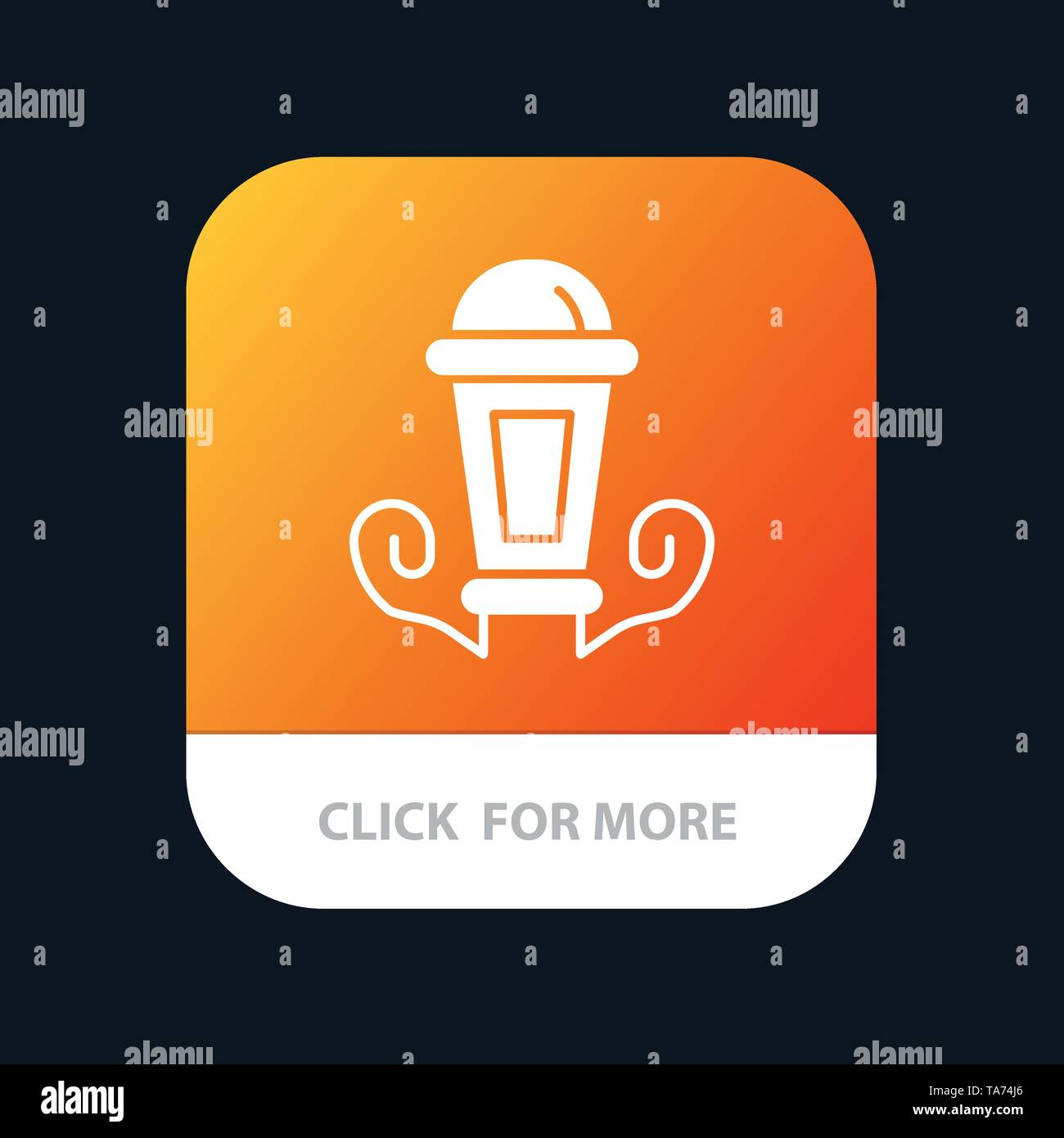 Light, Night, Lamp, Lantern Mobile App Button. Android and IOS Glyph Version - Stock Image