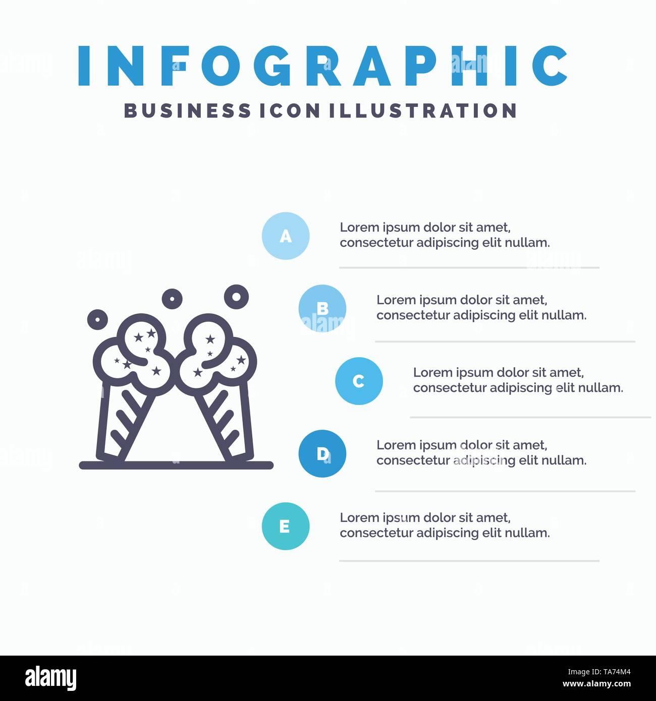 Ice cream, Ice, Cream, American Line icon with 5 steps presentation infographics Background - Stock Image