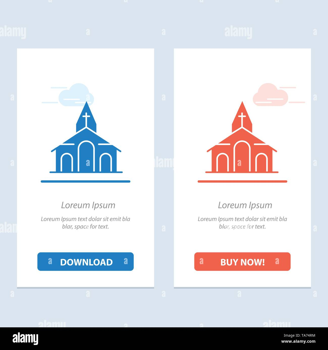 Building, Christmas, Church, Spring  Blue and Red Download and Buy Now web Widget Card Template - Stock Image