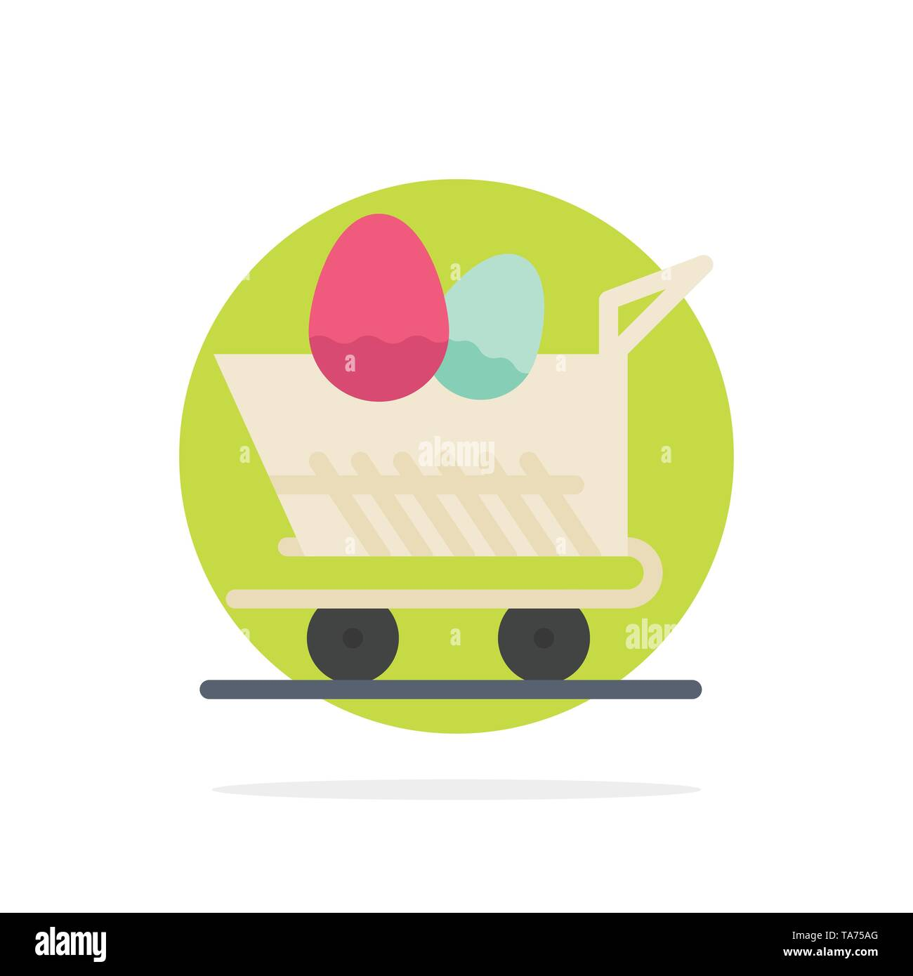 Cart, Trolley, Easter, Shopping Abstract Circle Background Flat color Icon - Stock Image