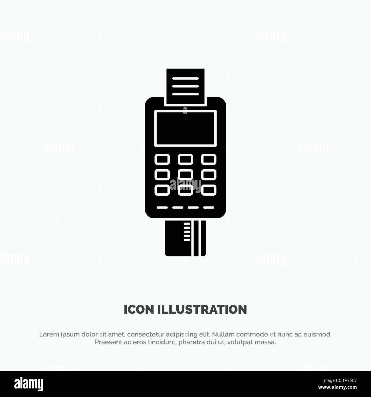Machine, Business, Card, Check, Credit Card, Credit Card Machine, Payment, ATM solid Glyph Icon vector - Stock Image