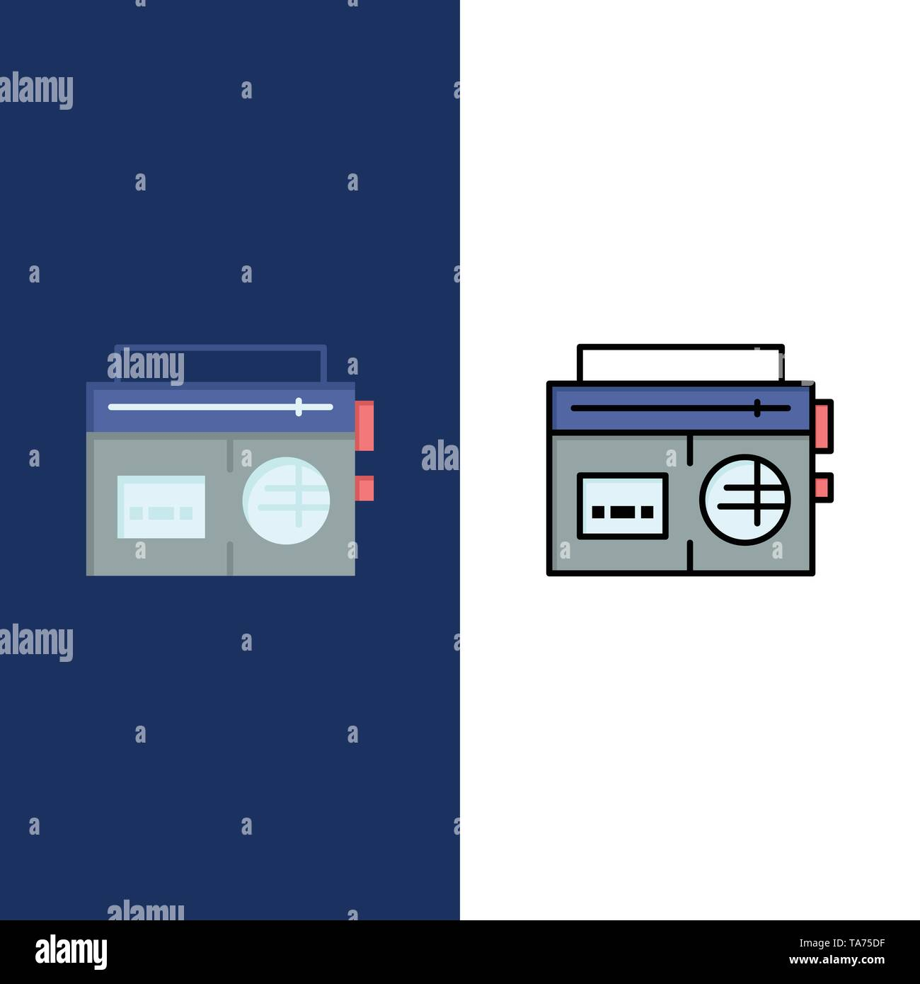 Tape, Radio, Music, Media  Icons. Flat and Line Filled Icon Set Vector Blue Background - Stock Image