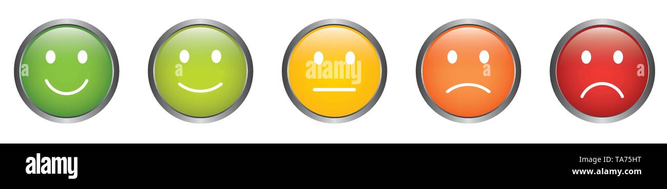 Feedback Vector Buttons with Smiley Icons in Different Colors from Happy to Sad - Stock Vector