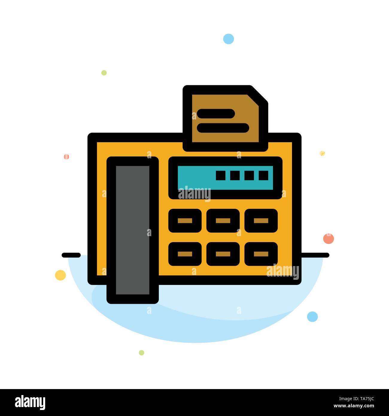 Fax, Phone, Typewriter, Fax Machine Abstract Flat Color Icon Template - Stock Image
