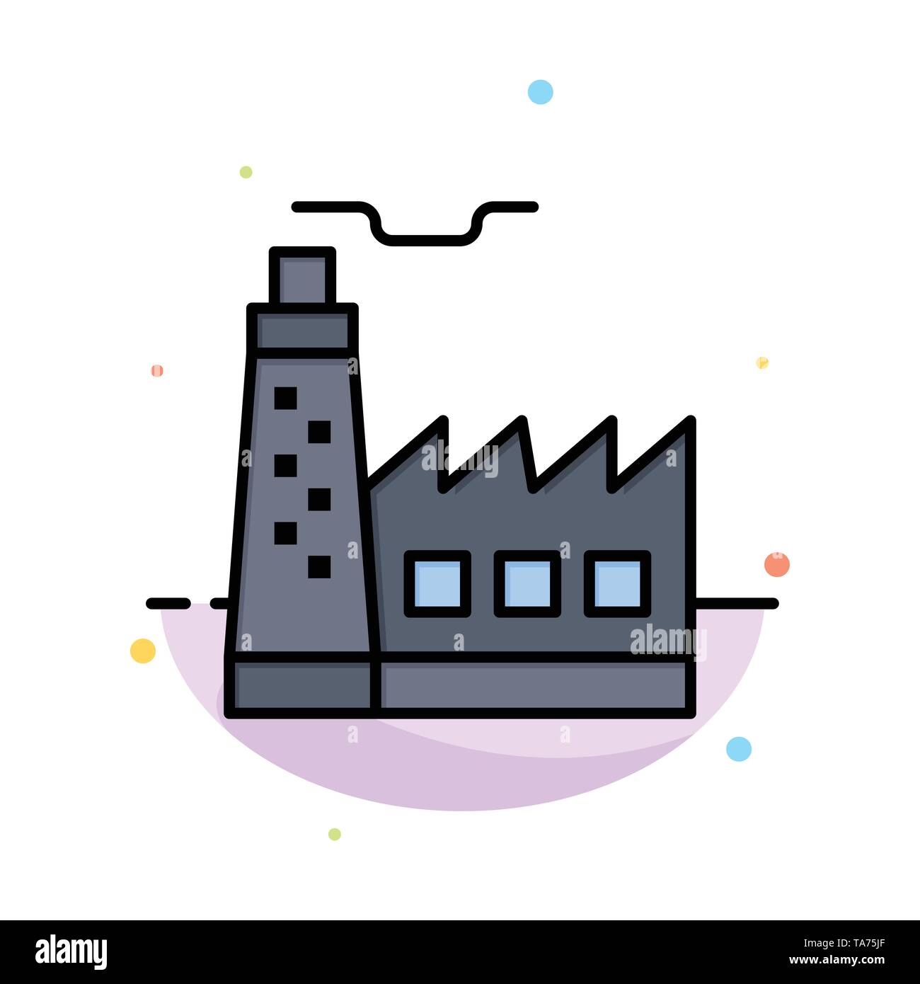 Building, Factory, Construction, Industry Abstract Flat Color Icon Template - Stock Image