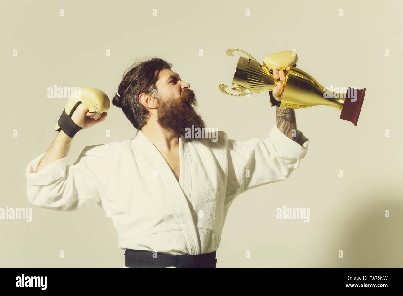 bearded karate man, long beard, brutal caucasian hipster with moustache in white kimono with black belt and boxing gloves with shouting happy face hol - Stock Image