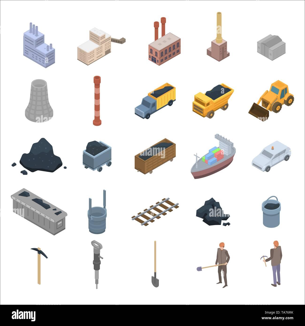 Coal industry icons set, isometric style - Stock Image
