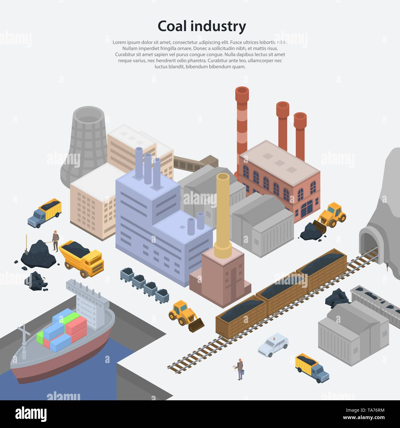 Coal industry plant concept background, isometric style - Stock Image