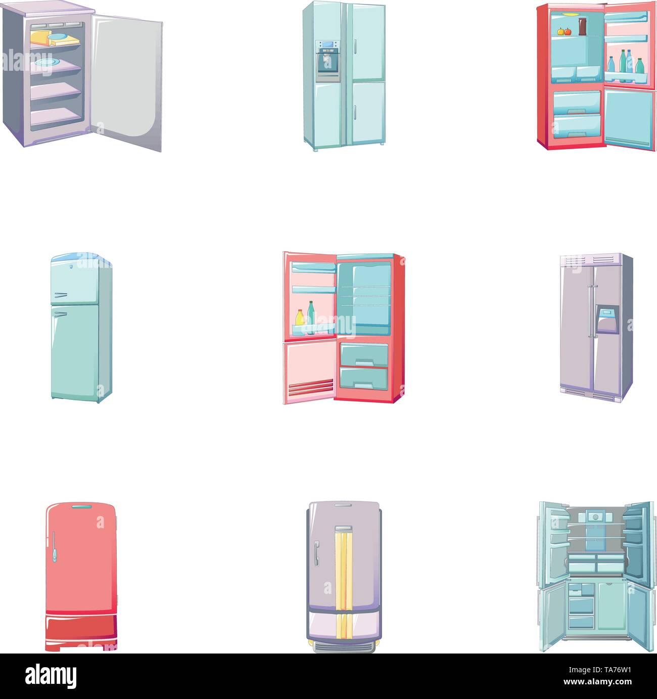 Freezer icons set, cartoon style - Stock Image