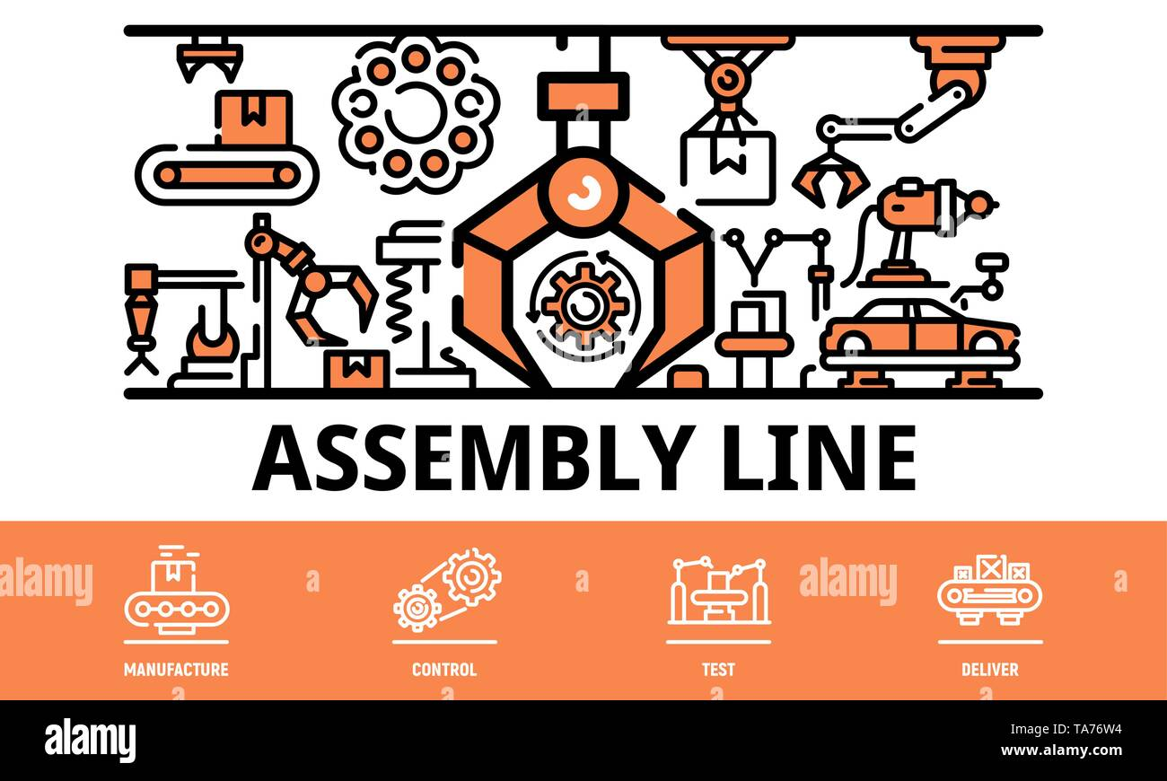Assembly line banner, outline style - Stock Image