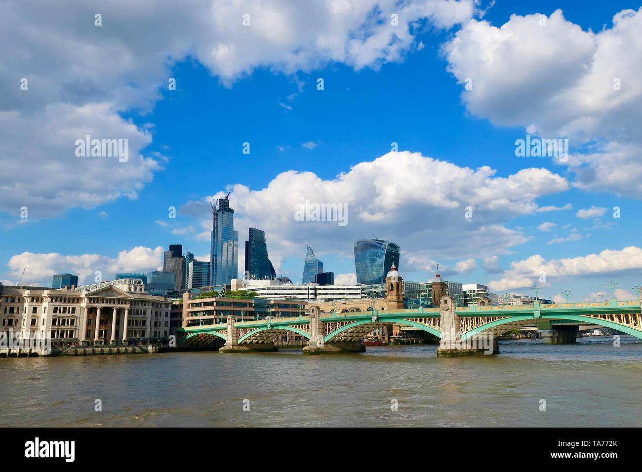 London, UK - 21 05 2019: City skyline, Blackfriars bridge and the River Thames, Stock Photo