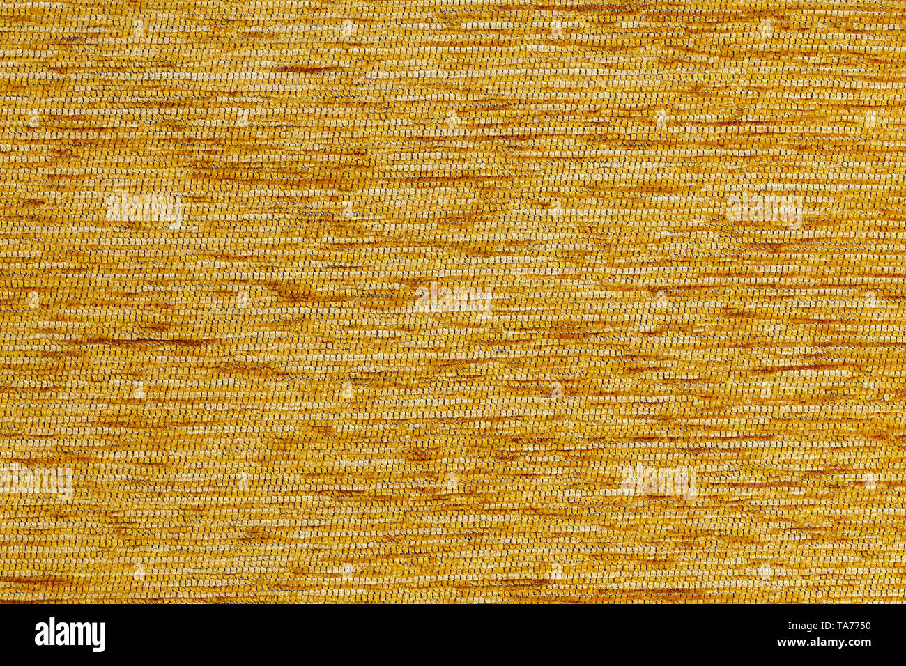 Orange flat short hard fluff dense fabric background, close up without any blurring - Stock Image