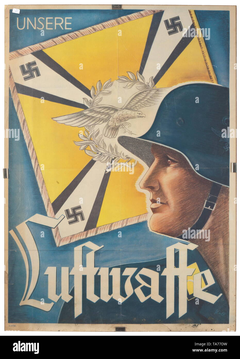A poster advertising 'Unsere Luftwaffe' (tr. 'our airforce') signed 'Koll' historic, historical, Air Force, branch of service, branches of service, armed service, armed services, military, militaria, air forces, object, objects, stills, clipping, clippings, cut out, cut-out, cut-outs, 20th century, Editorial-Use-Only - Stock Image