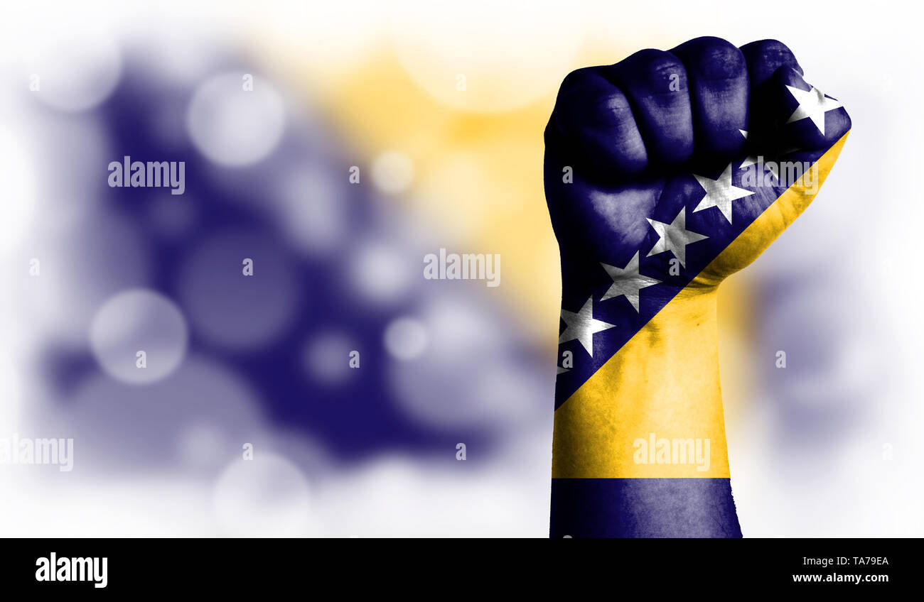 Flag of Bosnia and Herzegovina painted on male fist, strength,power,concept of conflict. On a blurred background with a good place for your text. - Stock Image