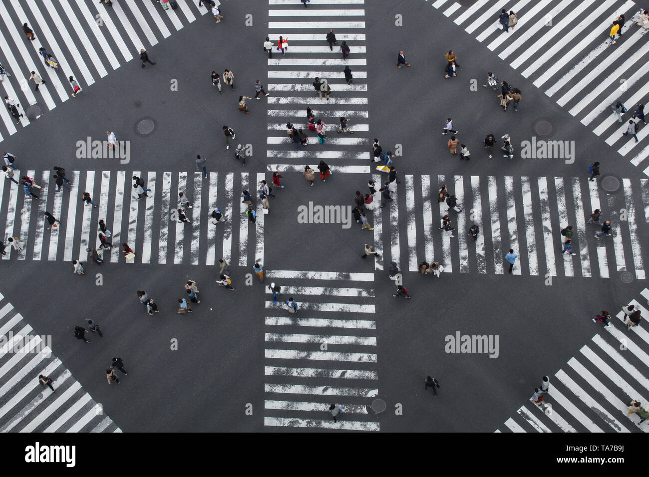 A view of a scramble crossing from above at Ginza, Tokyo - Stock Image