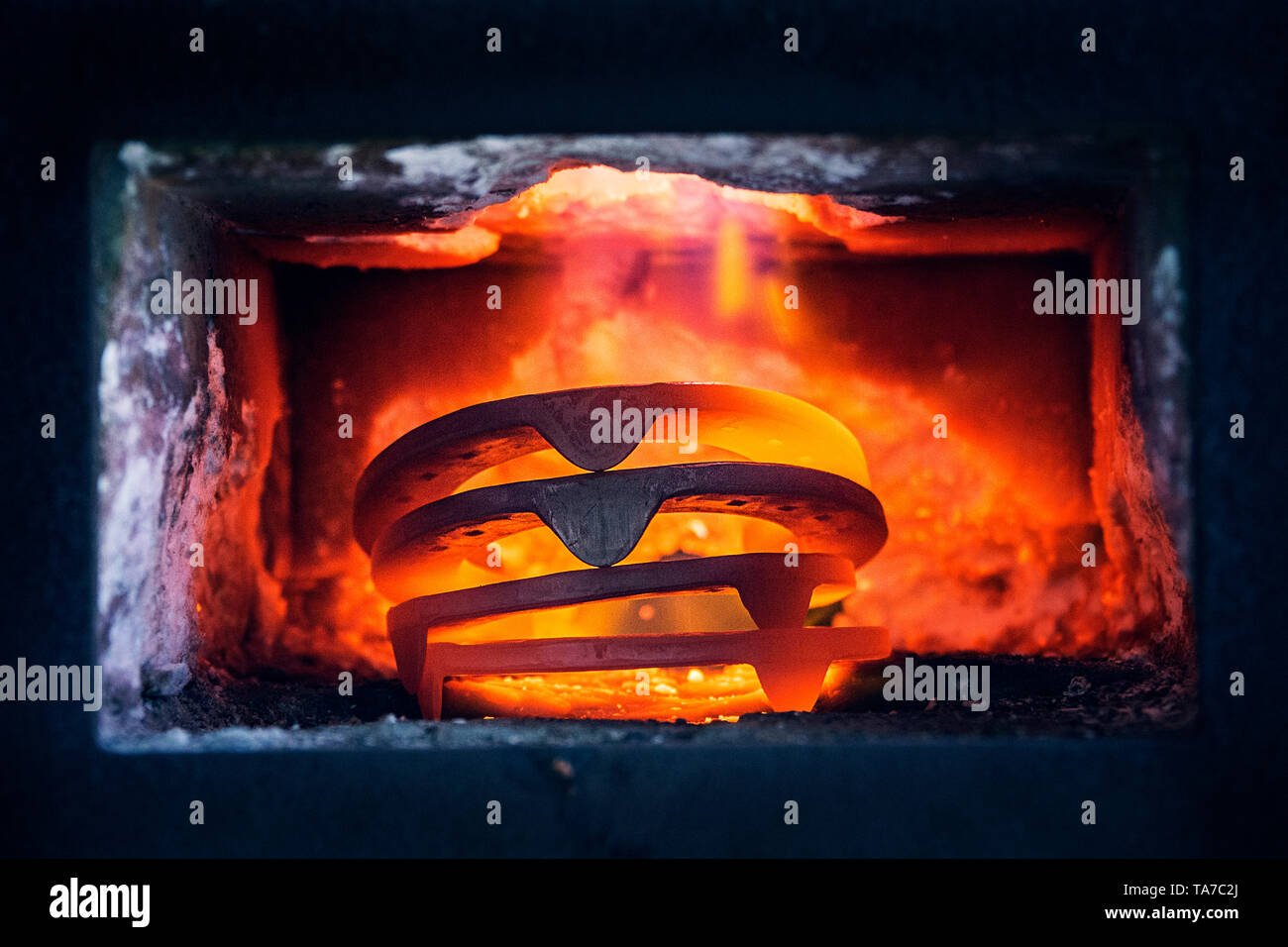 Horseshoein the forge of a farrier. Austria - Stock Image