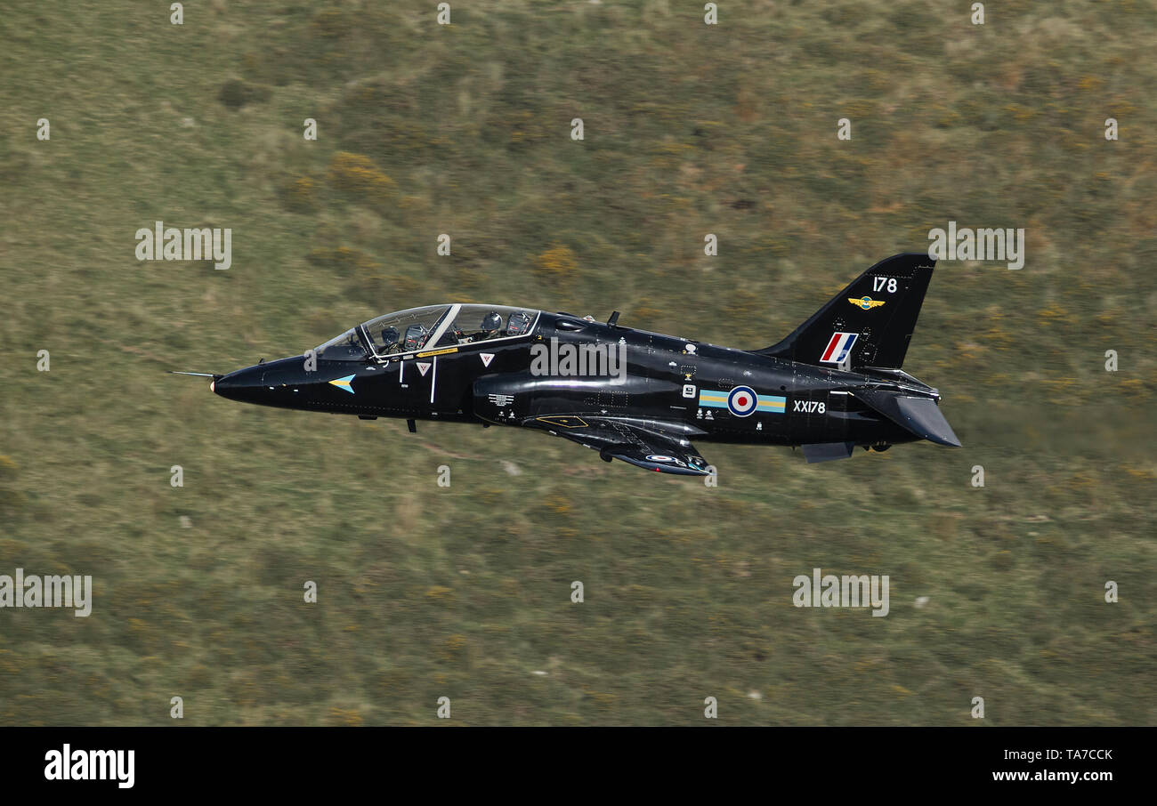 RAF Hawk flying low level through the Mach Loop in Wales, UK Stock Photo