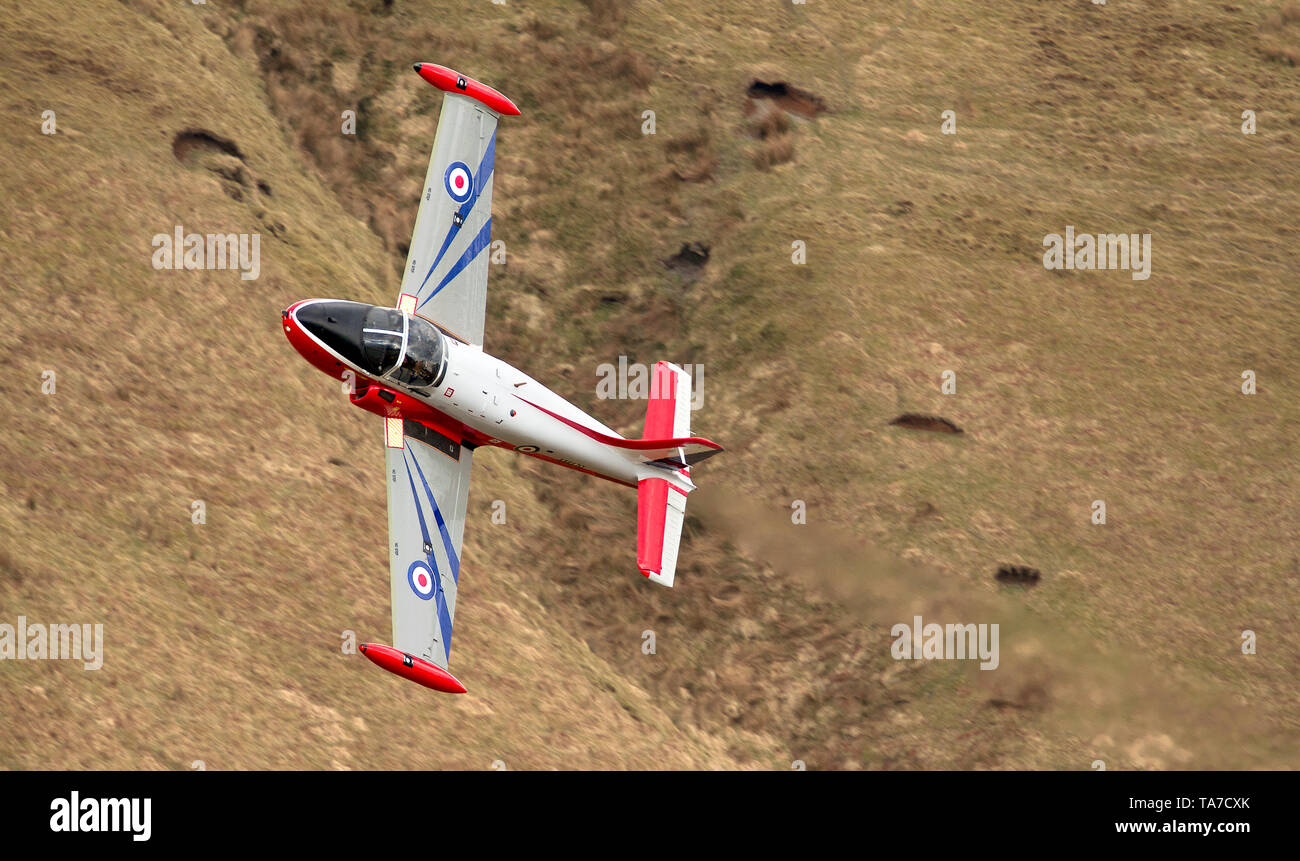 Jet Provost flying low level in the Mach Loop in Wales, UK Stock Photo