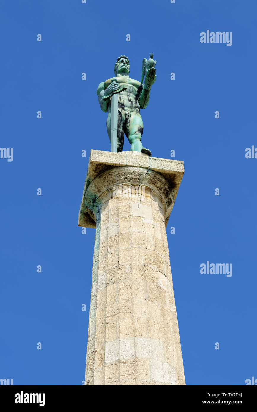 The Victor, Belgrade, Serbia. Built to commemorate Serbia's victory over Ottoman and Austro-Hungarian Empire during the Balkan Wars and the First Worl - Stock Image
