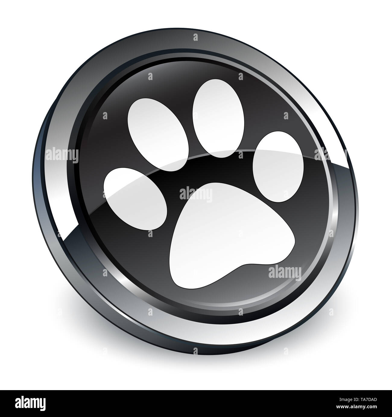 Animal footprint icon isolated on 3d black round button abstract illustration - Stock Image