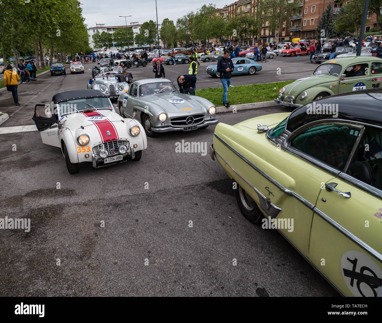 Brescia, Italy - May 18, 2019: Triumphant entry of the classic