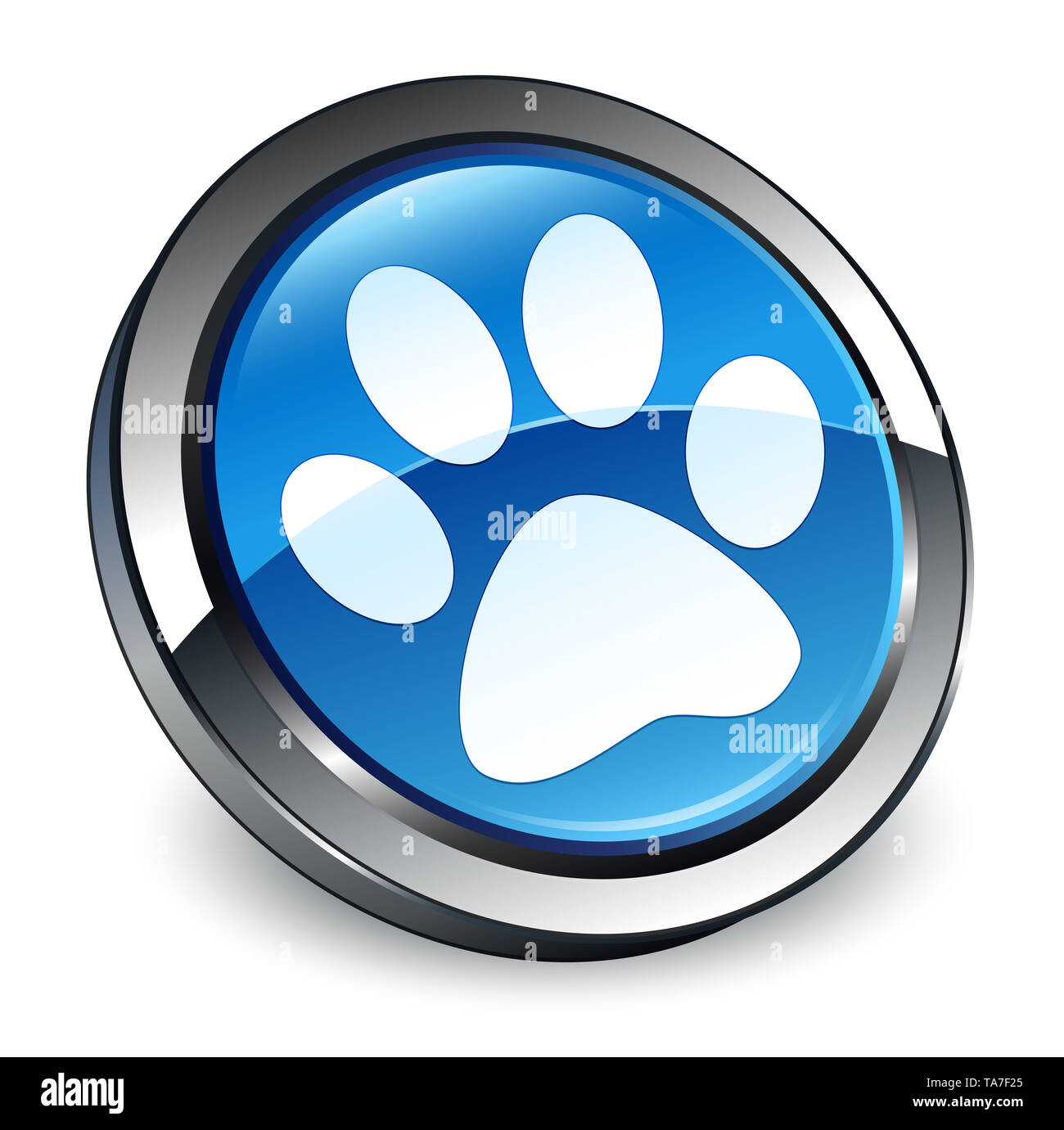 Animal footprint icon isolated on 3d blue round button abstract illustration - Stock Image