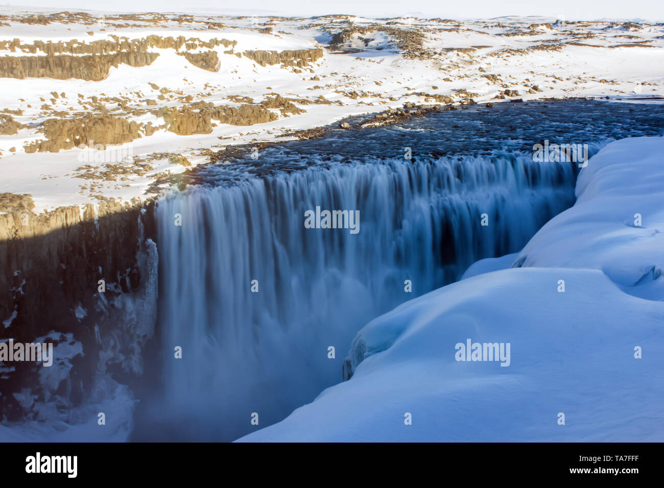 Detifoss waterfall at twilight with veil effect in Iceland - Stock Image